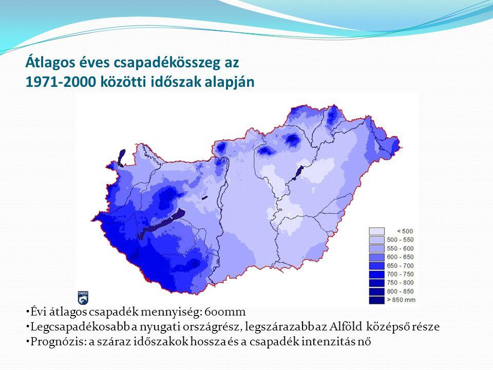 Átlagos éves csapadékösszeg az 1971-2000 közötti időszak alapján Évi átlagos csapadék mennyiség: 600mm Legcsapadékosabb a nyugati országrész, legszára