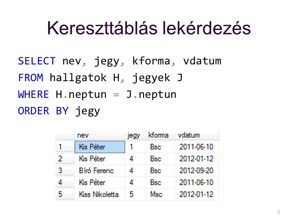 Kereszttáblás lekérdezés SELECT nev, jegy, kforma, vdatum FROM hallgatok H, jegyek J WHERE H.neptun = J.neptun ORDER BY jegy 7