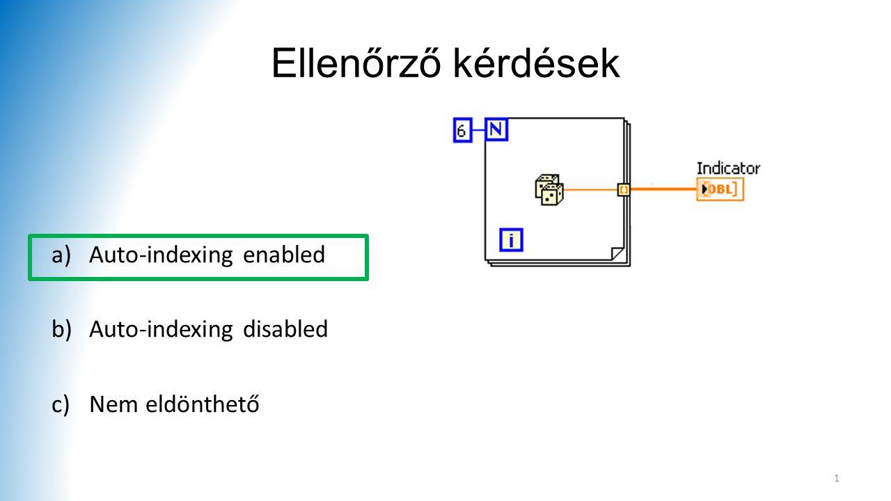 Ellenőrző kérdések a)Auto-indexing enabled b)Auto-indexing disabled c)Nem eldönthető 1