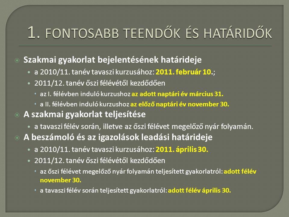  Szakmai gyakorlat bejelentésének határideje a 2010/11.