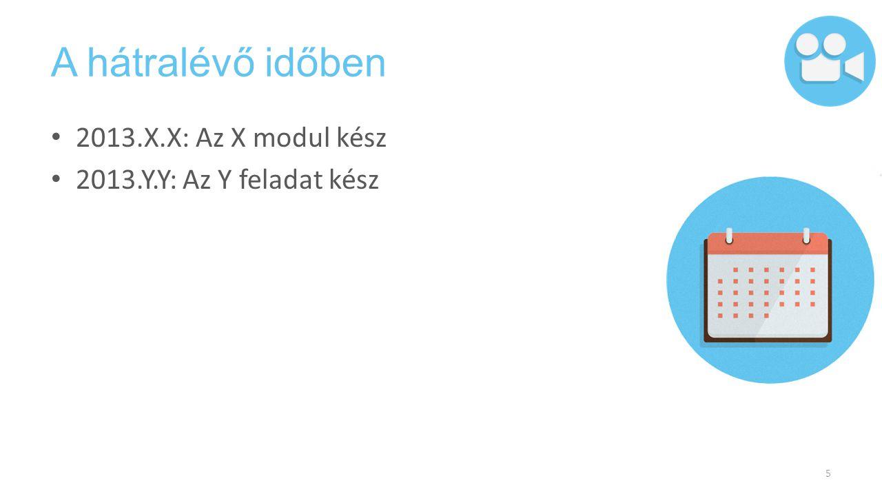 A hátralévő időben 2013.X.X: Az X modul kész 2013.Y.Y: Az Y feladat kész 5