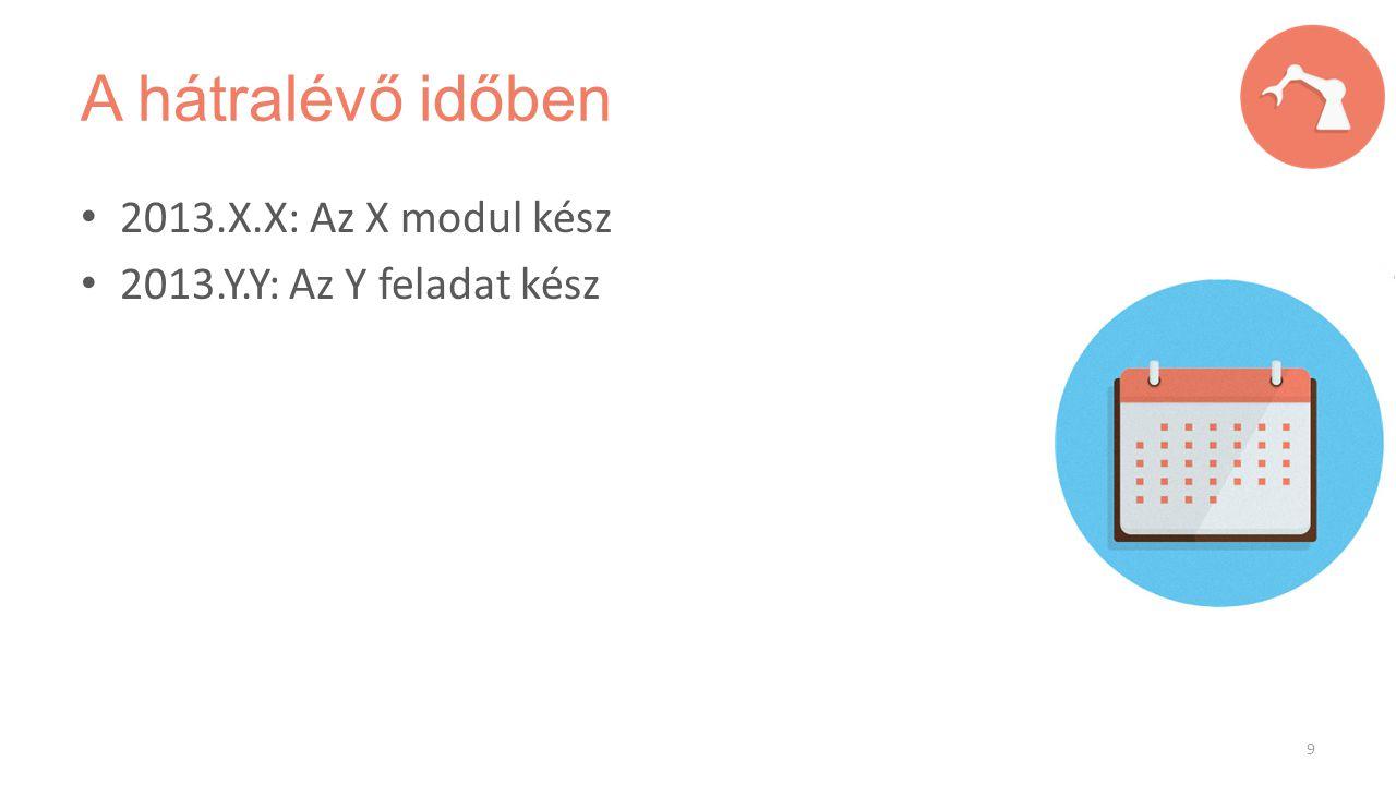 A hátralévő időben 2013.X.X: Az X modul kész 2013.Y.Y: Az Y feladat kész 9