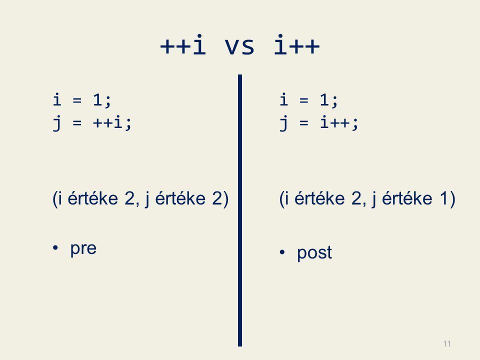 ++i vs i++ i = 1; j = ++i; (i értéke 2, j értéke 2) pre i = 1; j = i++; (i értéke 2, j értéke 1) post 11