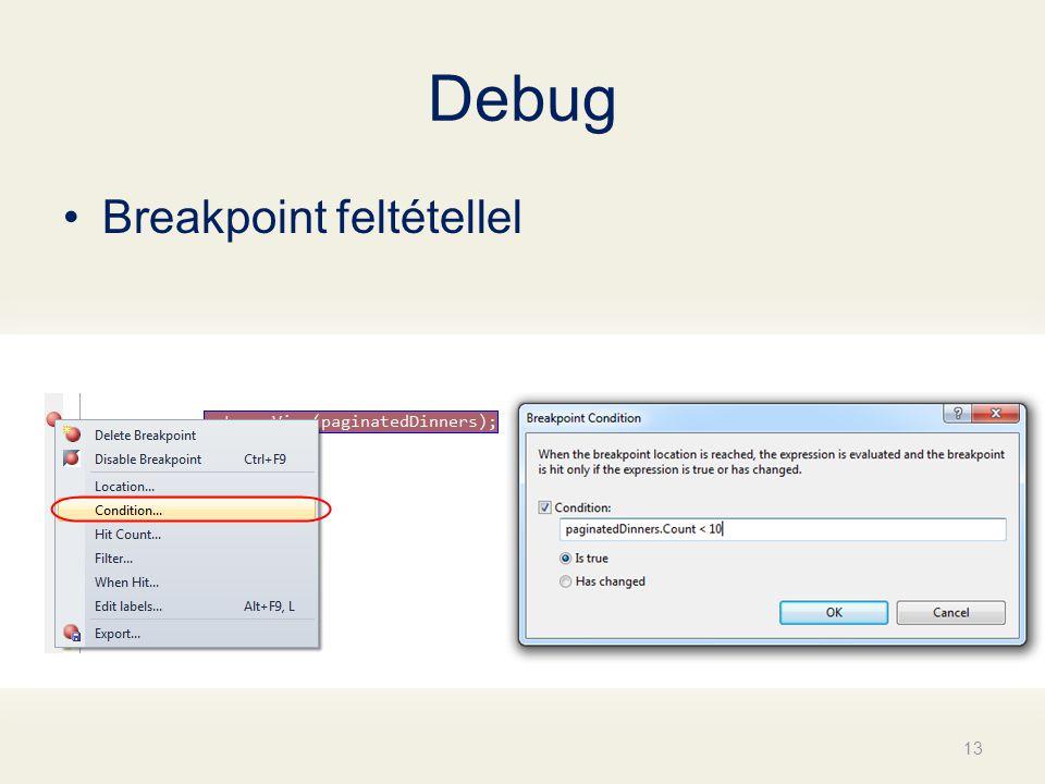 Debug Breakpoint feltétellel 13