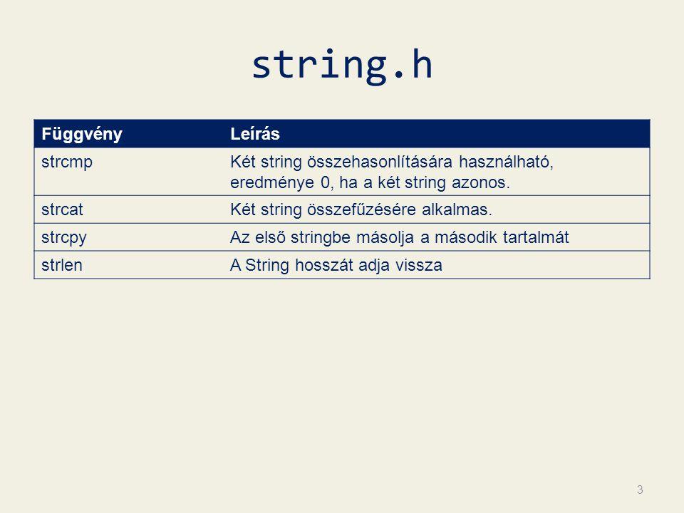string.h 3 FüggvényLeírás strcmpKét string összehasonlítására használható, eredménye 0, ha a két string azonos.