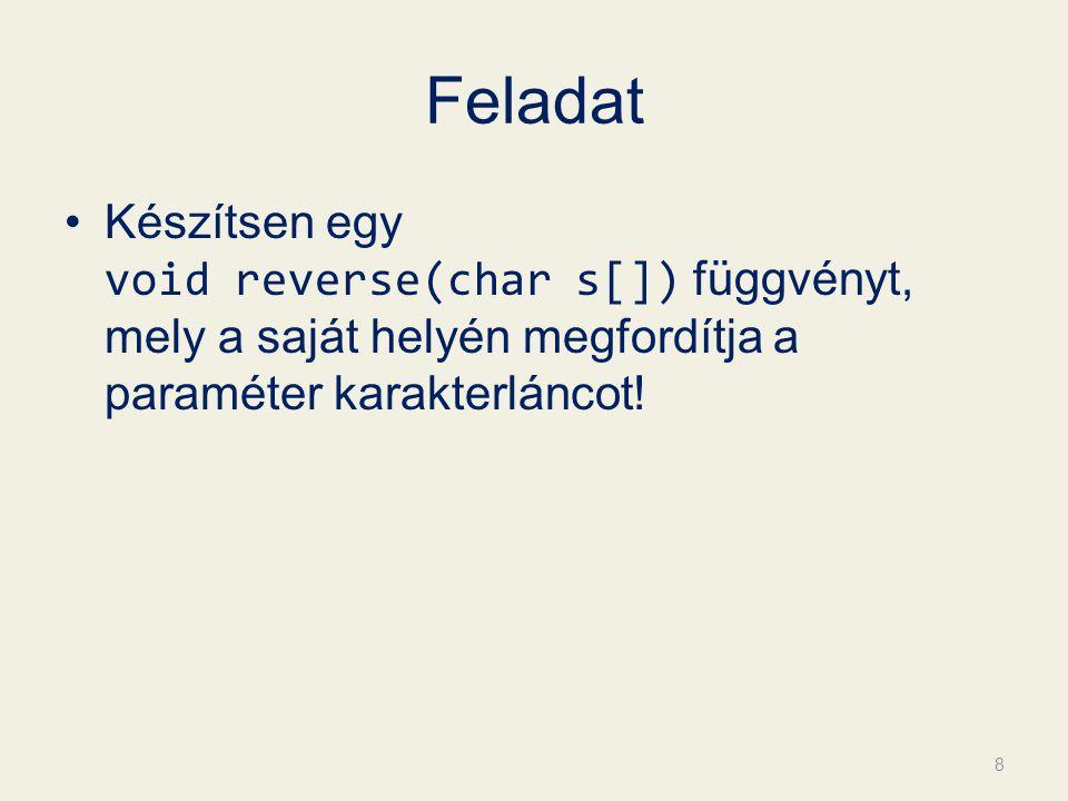 Feladat Készítsen egy void reverse(char s[]) függvényt, mely a saját helyén megfordítja a paraméter karakterláncot.