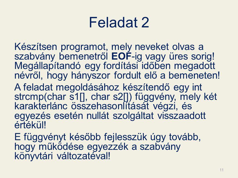 Feladat 2 Készítsen programot, mely neveket olvas a szabvány bemenetről EOF-ig vagy üres sorig.