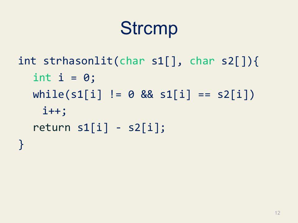 Strcmp int strhasonlit(char s1[], char s2[]){ int i = 0; while(s1[i] != 0 && s1[i] == s2[i]) i++; return s1[i] - s2[i]; } 12
