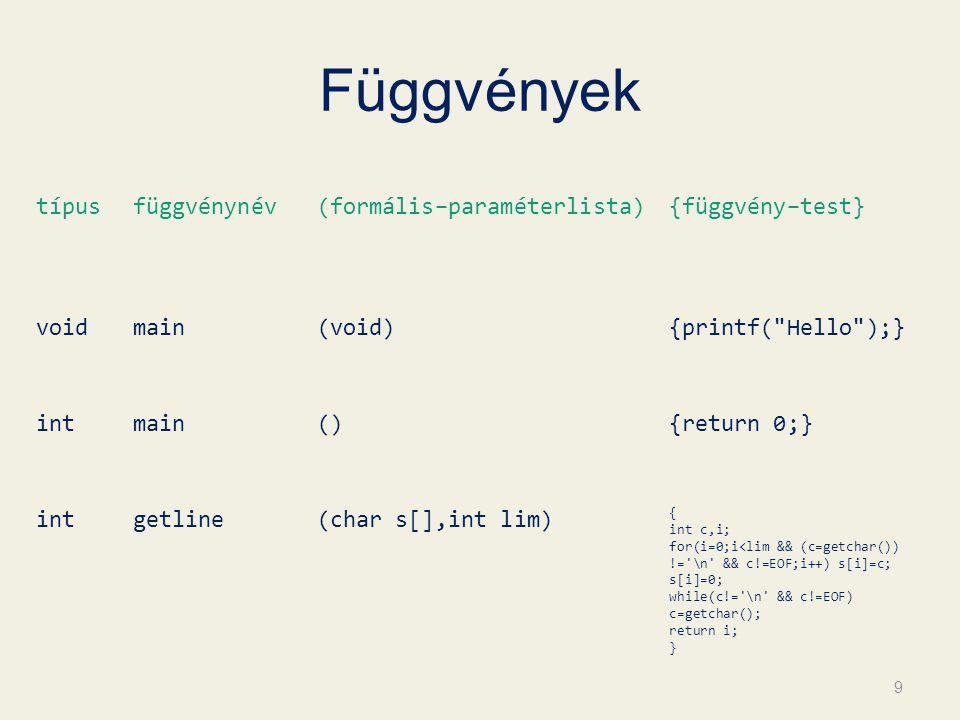 Függvények típusfüggvénynév(formális–paraméterlista){függvény–test} voidmain(void){printf( Hello );} intmain(){return 0;} intgetline(char s[],int lim) { int c,i; for(i=0;i<lim && (c=getchar()) != \n && c!=EOF;i++) s[i]=c; s[i]=0; while(c!= \n && c!=EOF) c=getchar(); return i; } 9