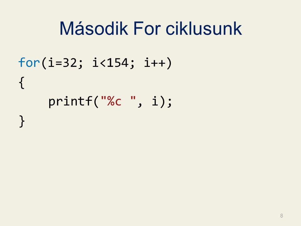 Második For ciklusunk for(i=32; i<154; i++) { printf( %c , i); } 8