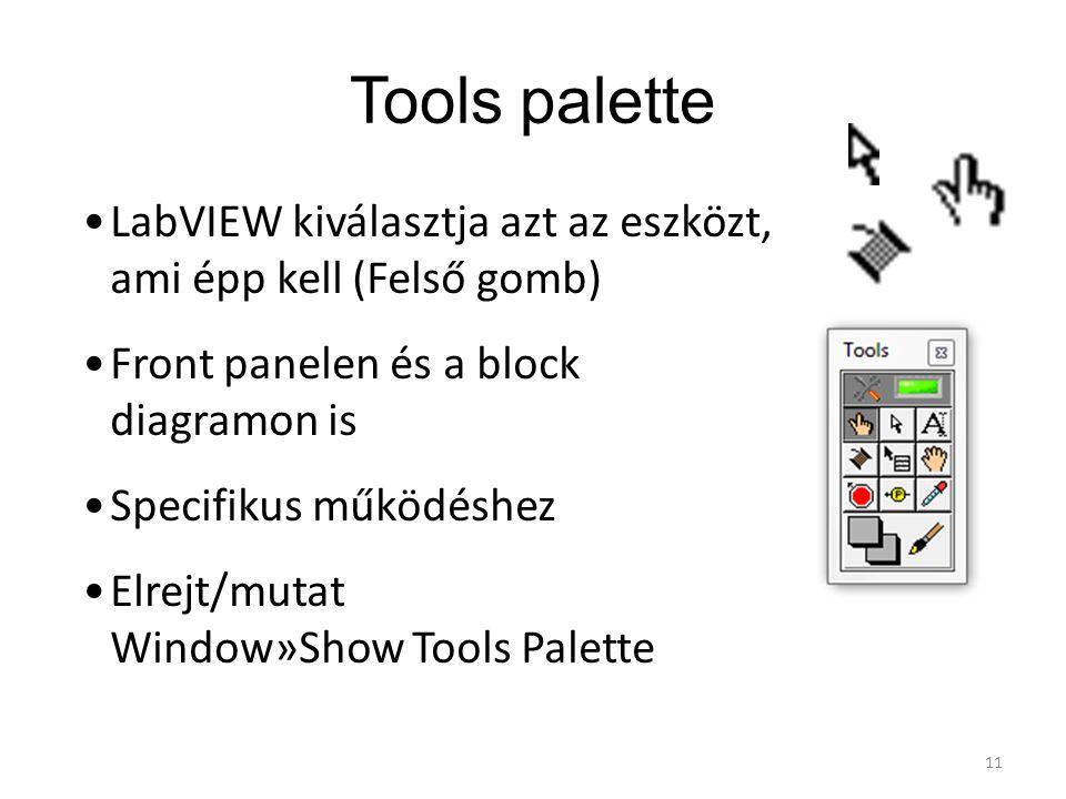 Tools palette LabVIEW kiválasztja azt az eszközt, ami épp kell (Felső gomb) Front panelen és a block diagramon is Specifikus működéshez Elrejt/mutat W