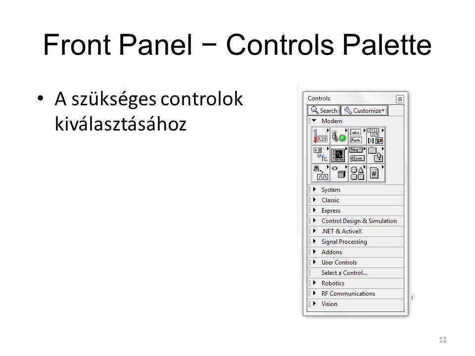 Front Panel − Controls Palette A szükséges controlok kiválasztásához 12