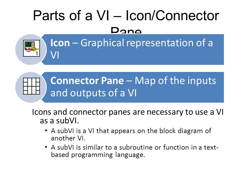 Parts of a VI – Icon/Connector Pane Icons and connector panes are necessary to use a VI as a subVI.
