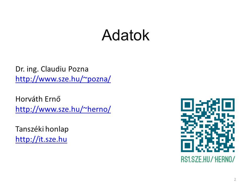 Adatok Dr. ing. Claudiu Pozna http://www.sze.hu/~pozna/ Horváth Ernő http://www.sze.hu/~herno/ Tanszéki honlap http://it.sze.hu 2