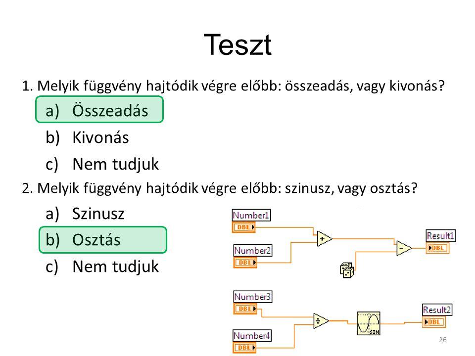 Teszt 1. Melyik függvény hajtódik végre előbb: összeadás, vagy kivonás? a)Összeadás b)Kivonás c)Nem tudjuk 2. Melyik függvény hajtódik végre előbb: sz