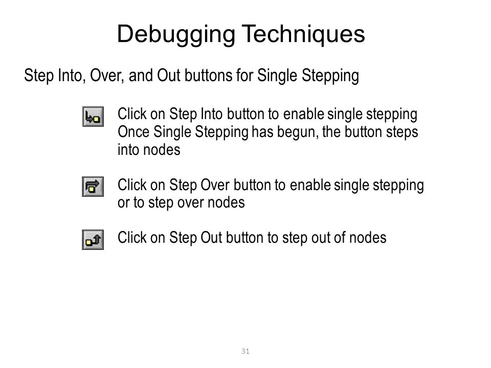 31 Debugging Techniques Step Into, Over, and Out buttons for Single Stepping Click on Step Into button to enable single stepping Once Single Stepping has begun, the button steps into nodes Click on Step Over button to enable single stepping or to step over nodes Click on Step Out button to step out of nodes