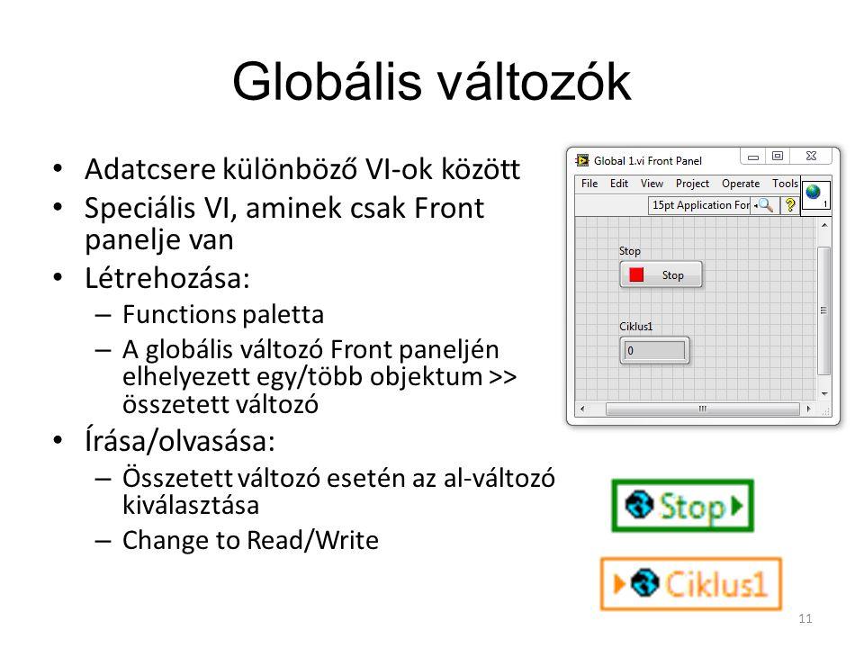 Globális változók Adatcsere különböző VI-ok között Speciális VI, aminek csak Front panelje van Létrehozása: – Functions paletta – A globális változó F