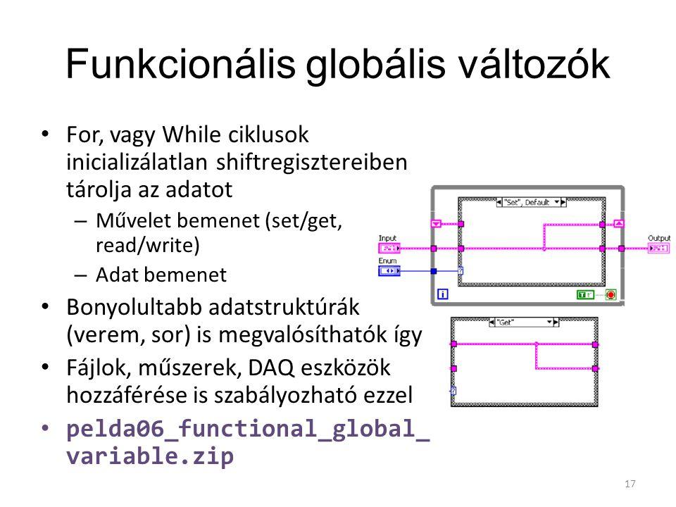 Funkcionális globális változók For, vagy While ciklusok inicializálatlan shiftregisztereiben tárolja az adatot – Művelet bemenet (set/get, read/write)