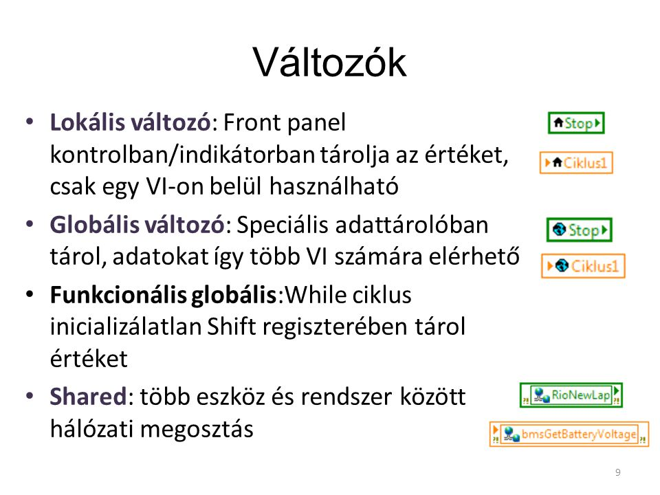 Lokális változók Létrehozása: – Jobb klikk egy kontrol/indikátor terminálon >> Create >> Local variable – Functions paletta Írása/olvasása: – Jobb klikk >> Change to Read/Write 10