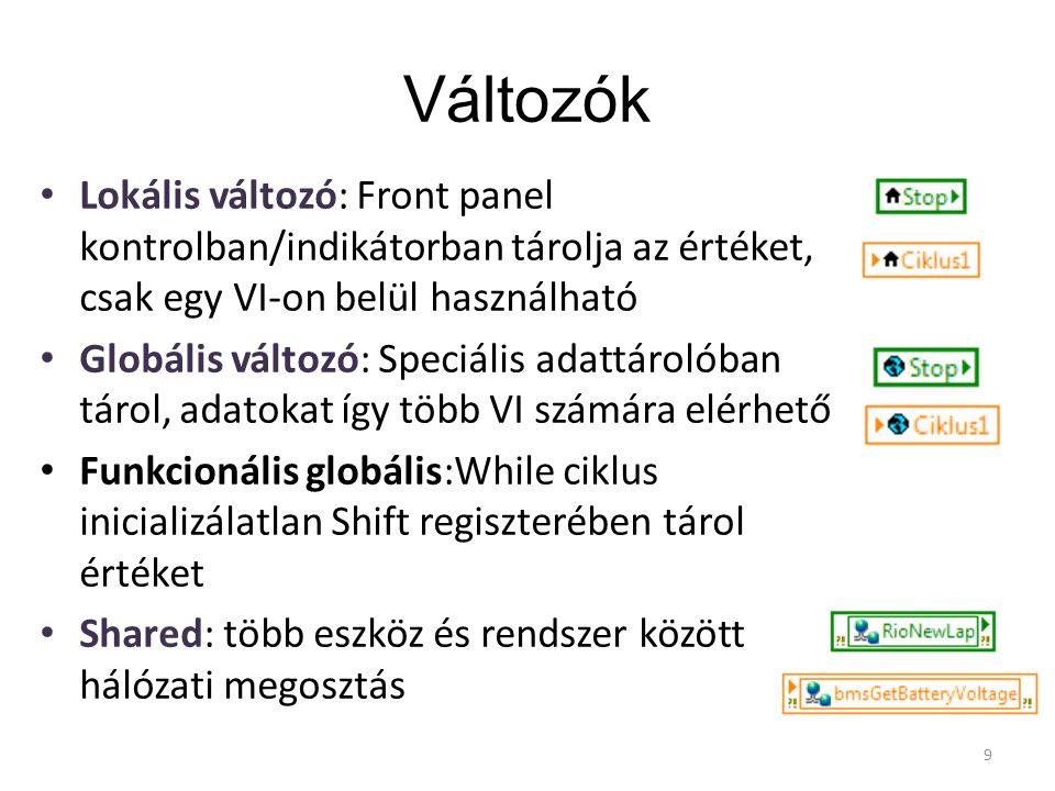 Változók Lokális változó: Front panel kontrolban/indikátorban tárolja az értéket, csak egy VI-on belül használható Globális változó: Speciális adattár