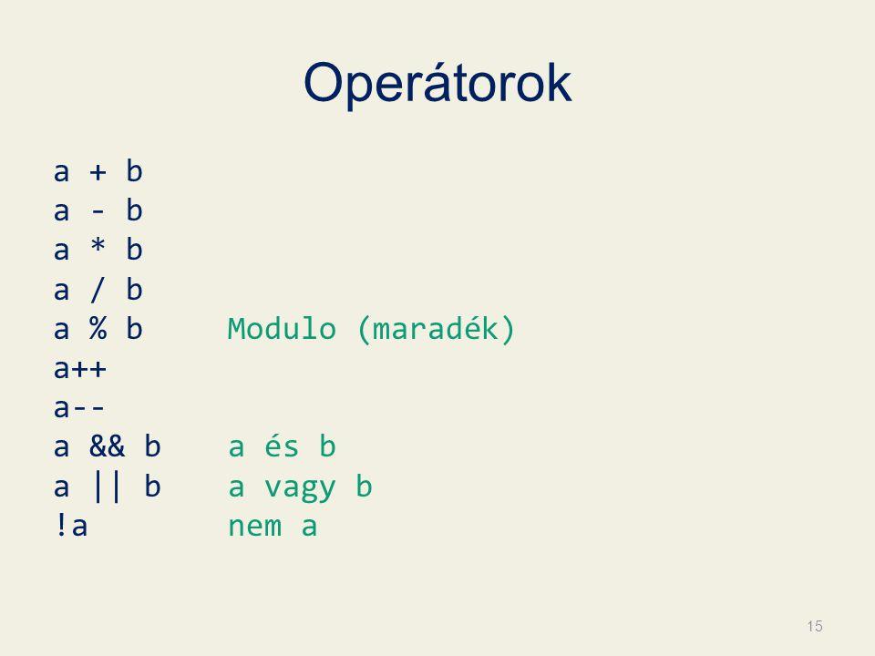 Operátorok a + b a - b a * b a / b a % bModulo (maradék) a++ a-- a && ba és b a || ba vagy b !anem a 15