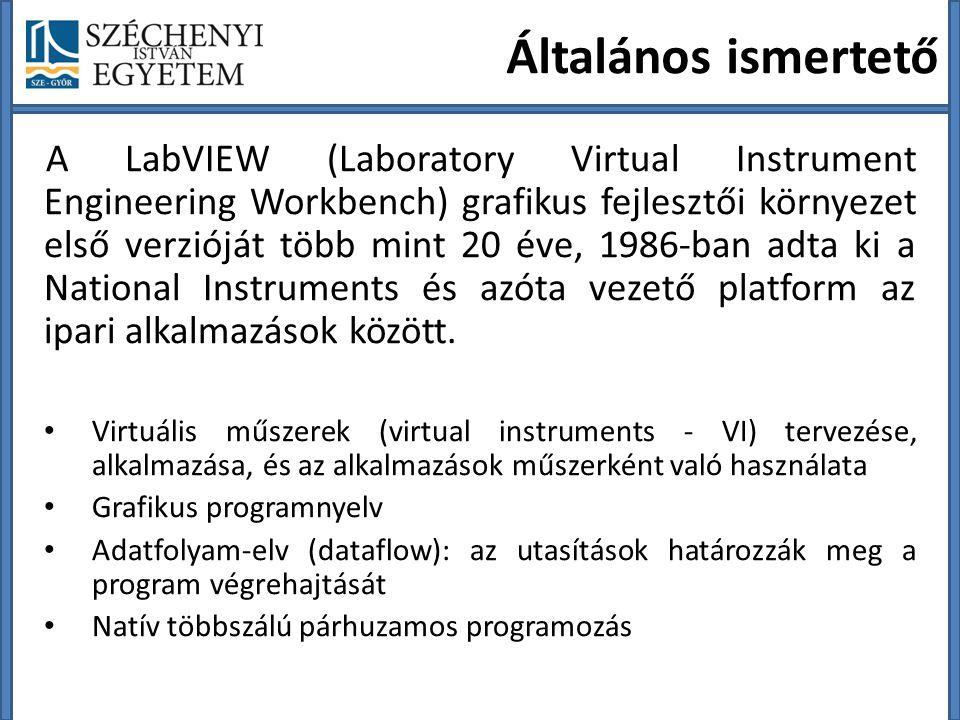 Általános ismertető A LabVIEW (Laboratory Virtual Instrument Engineering Workbench) grafikus fejlesztői környezet első verzióját több mint 20 éve, 1986-ban adta ki a National Instruments és azóta vezető platform az ipari alkalmazások között.