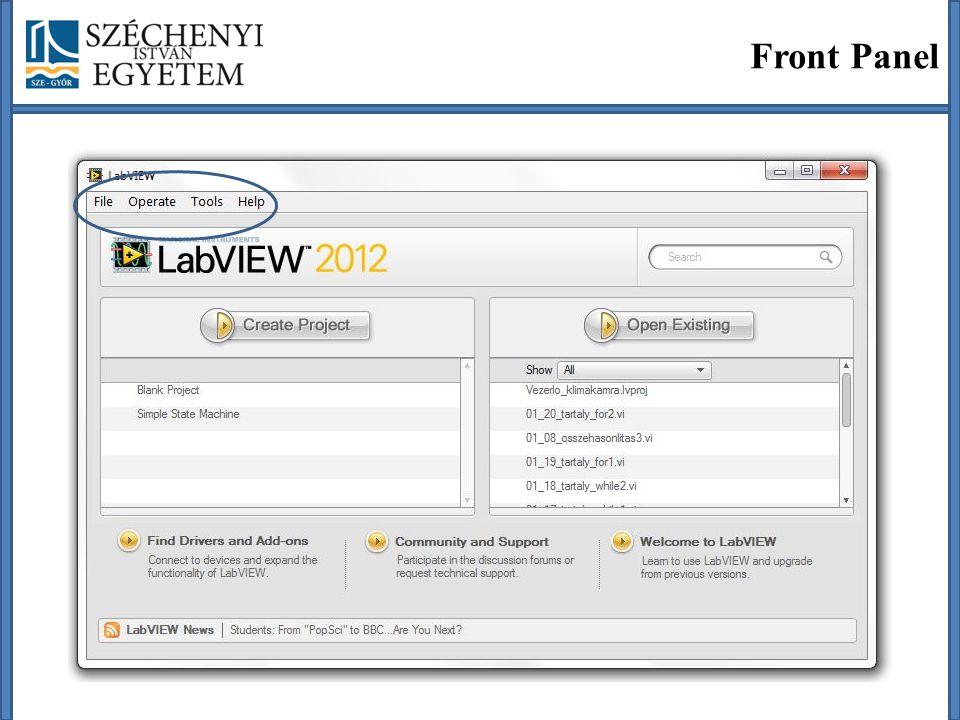 File -> New VI (CTRL + N) Kezdő képernyő