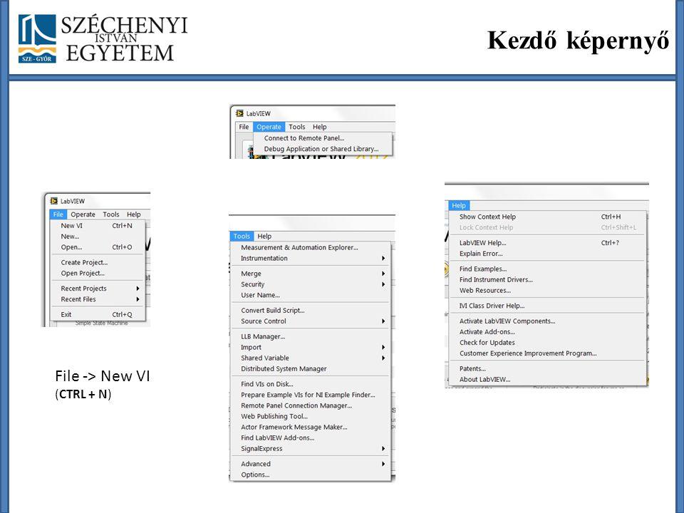 Front Panel Felhasználói felületVezérlő paletta (Controls) Futtatás és konfigurálás ikonok (Edit mode) Ctrl + E (Block Diagram) Ctrl + T (ablakok rendezése jobb és bal oldalra)