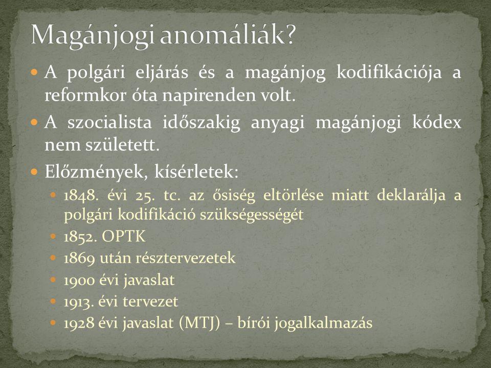 A polgári eljárás és a magánjog kodifikációja a reformkor óta napirenden volt. A szocialista időszakig anyagi magánjogi kódex nem született. Előzménye