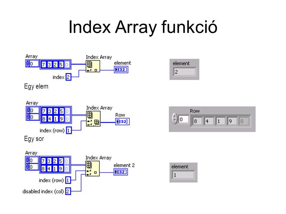 Index Array funkció Egy elem Egy sor