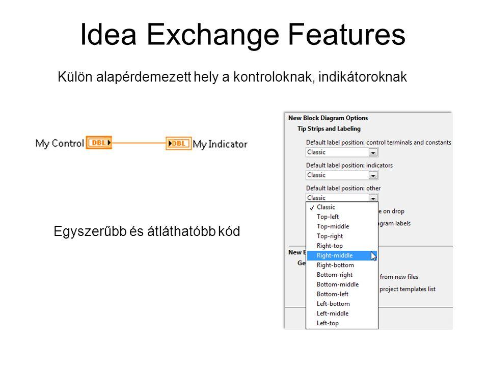 Idea Exchange Features Egyszerűbb és átláthatóbb kód Külön alapérdemezett hely a kontroloknak, indikátoroknak