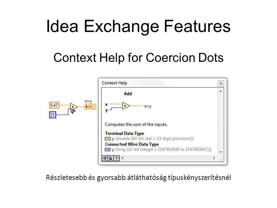 Idea Exchange Features Context Help for Coercion Dots Részletesebb és gyorsabb átláthatóság típuskényszerítésnél
