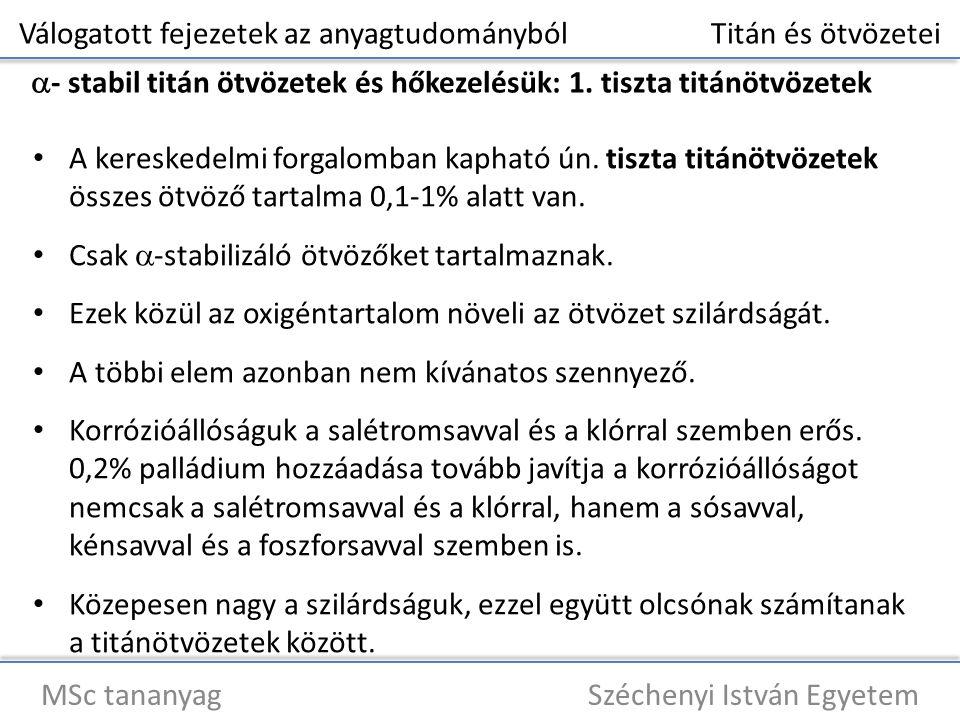 Válogatott fejezetek az anyagtudományból Titán és ötvözetei MSc tananyag Széchenyi István Egyetem  - stabil titán ötvözetek és hőkezelésük: 1.
