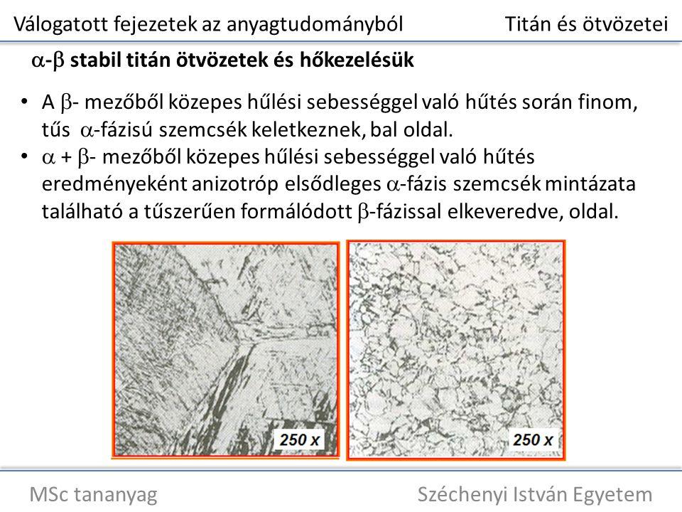 Válogatott fejezetek az anyagtudományból Titán és ötvözetei MSc tananyag Széchenyi István Egyetem  -  stabil titán ötvözetek és hőkezelésük A  - mezőből közepes hűlési sebességgel való hűtés során finom, tűs  -fázisú szemcsék keletkeznek, bal oldal.