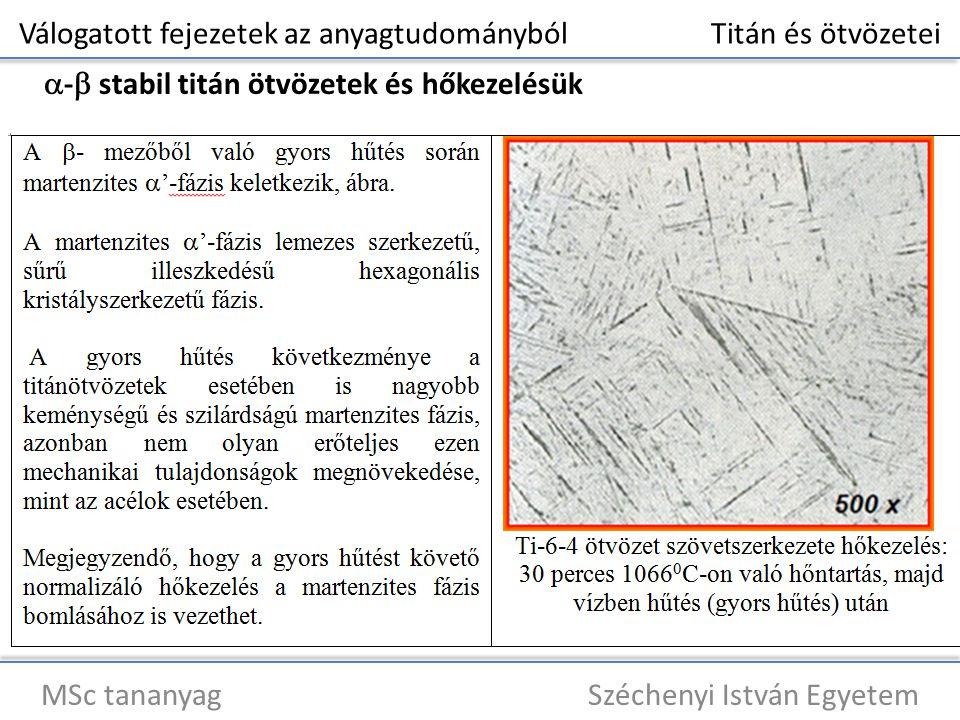 Válogatott fejezetek az anyagtudományból Titán és ötvözetei MSc tananyag Széchenyi István Egyetem  -  stabil titán ötvözetek és hőkezelésük