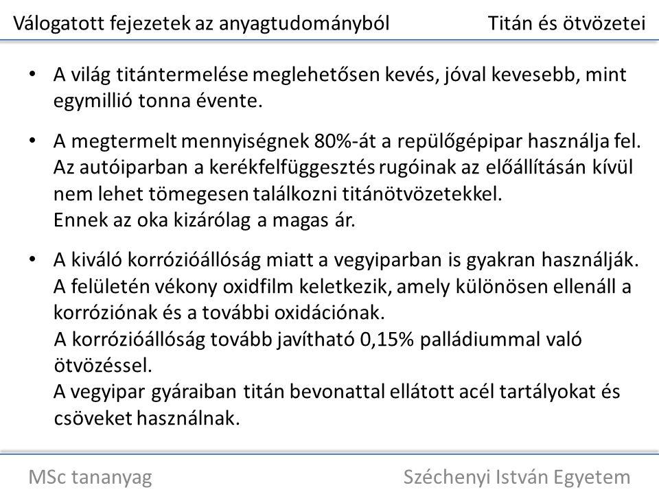 Válogatott fejezetek az anyagtudományból Titán és ötvözetei MSc tananyag Széchenyi István Egyetem A világ titántermelése meglehetősen kevés, jóval kevesebb, mint egymillió tonna évente.
