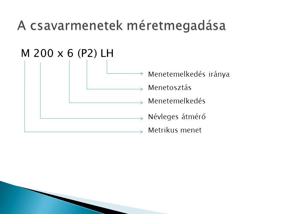 M 200 x 6 (P2) LH Menetemelkedés iránya Menetosztás Menetemelkedés Metrikus menet Névleges átmérő