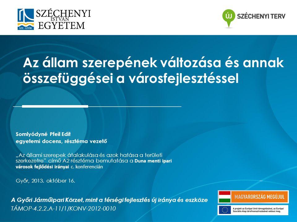 """Somlyódyné Pfeil Edit egyetemi docens, résztéma vezető """"Az állami szerepek átalakulása és azok hatása a területi szerkezetre című A2 résztéma bemutatása a Duna menti ipari városok fejlődési irányai c."""
