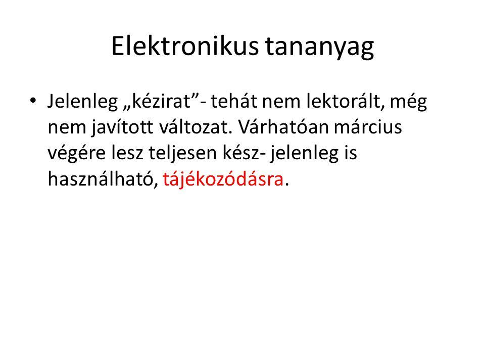 """Elektronikus tananyag Jelenleg """"kézirat - tehát nem lektorált, még nem javított változat."""
