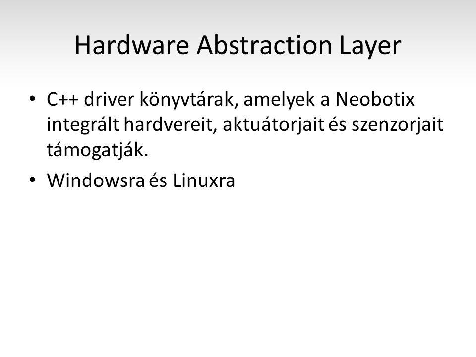 Hardware Abstraction Layer C++ driver könyvtárak, amelyek a Neobotix integrált hardvereit, aktuátorjait és szenzorjait támogatják.