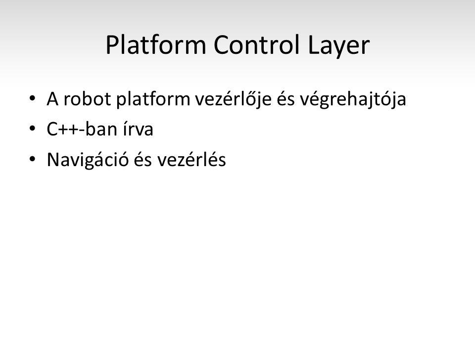 Platform Control Layer A robot platform vezérlője és végrehajtója C++-ban írva Navigáció és vezérlés