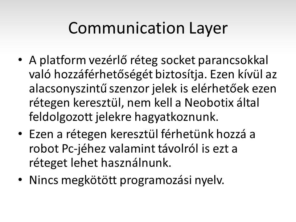 Application Layer Tartalmaz egy készen írt Java programot (PlatformCtrlGUI) JAVA és C++ nyelvre van API specifikus socket kommunikáció implementálva