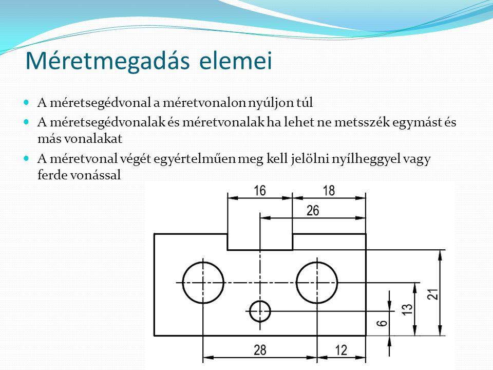 A méretsegédvonal a méretvonalon nyúljon túl A méretsegédvonalak és méretvonalak ha lehet ne metsszék egymást és más vonalakat A méretvonal végét egyé