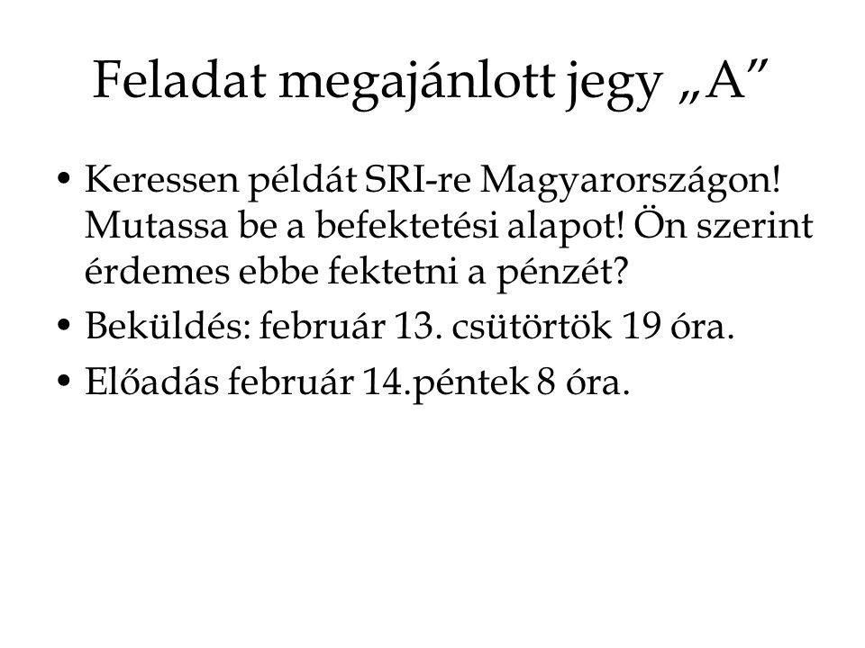 """Feladat megajánlott jegy """"A Keressen példát SRI-re Magyarországon."""