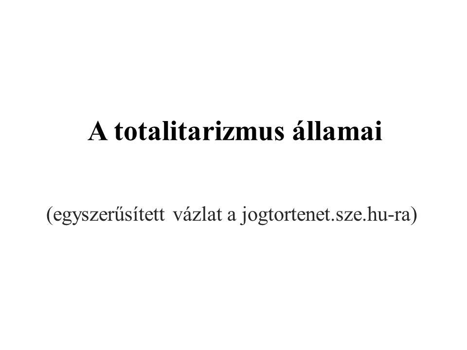 A totalitarizmus államai (egyszerűsített vázlat a jogtortenet.sze.hu-ra)