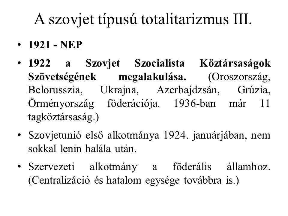 A szovjet típusú totalitarizmus III. 1921 - NEP 1922 a Szovjet Szocialista Köztársaságok Szövetségének megalakulása. (Oroszország, Belorusszia, Ukrajn