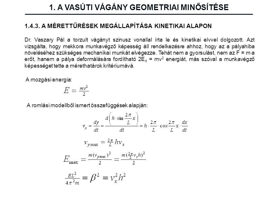 1. A VASÚTI VÁGÁNY GEOMETRIAI MINŐSÍTÉSE 1.4.3. A MÉRETTŰRÉSEK MEGÁLLAPÍTÁSA KINETIKAI ALAPON Dr. Vaszary Pál a torzult vágányt szinusz vonallal írta