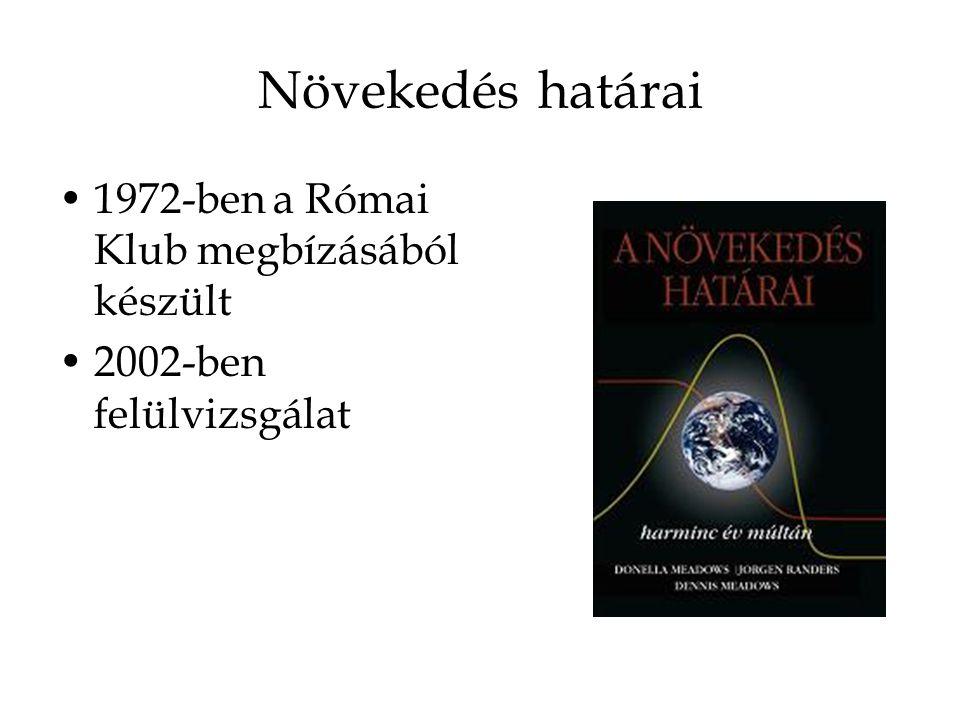 Növekedés határai 1972-ben a Római Klub megbízásából készült 2002-ben felülvizsgálat