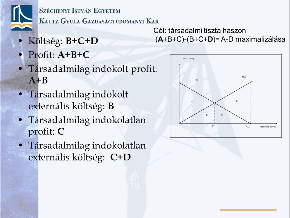 Költség: B+C+D Profit: A+B+C Társadalmilag indokolt profit: A+B Társadalmilag indokolt externális költség: B Társadalmilag indokolatlan profit: C Társadalmilag indokolatlan externális költség: C+D