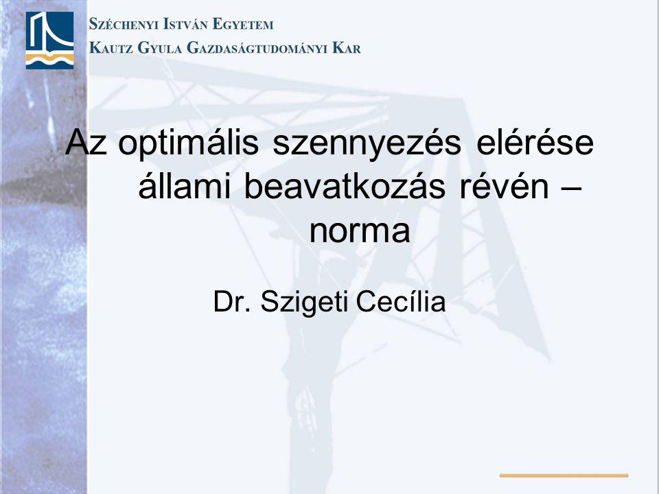 Az optimális szennyezés elérése állami beavatkozás révén – norma Dr. Szigeti Cecília